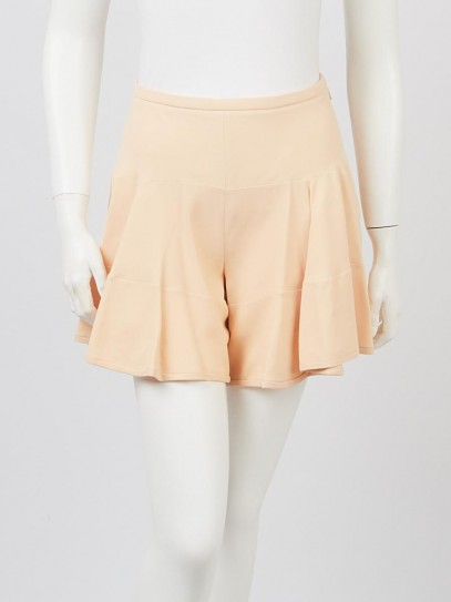 Chloe Sandy Beige Fabric High-Waist Pleated Shorts Size 2/34