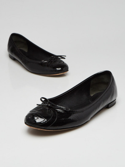 Gucci Black Patent Leather Interlocking G Ballet Flats Size 6/36.5