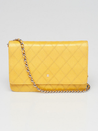 Chanel Yellow Diamond Stitched Leather CC WOC Clutch Bag