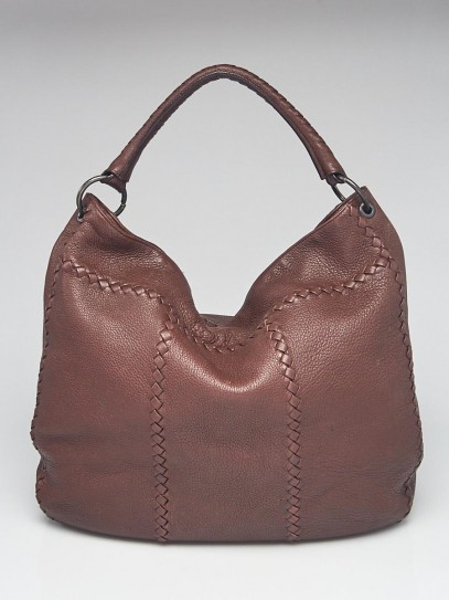 Bottega Veneta Dark Bramble Cervo Leather Large Loop Hobo Bag