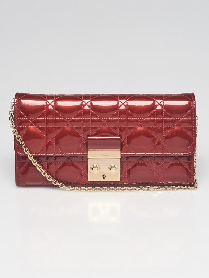 Christian Dior Massai Red Cannage Quilted Patent Leather Wallet-On-Chain Bag
