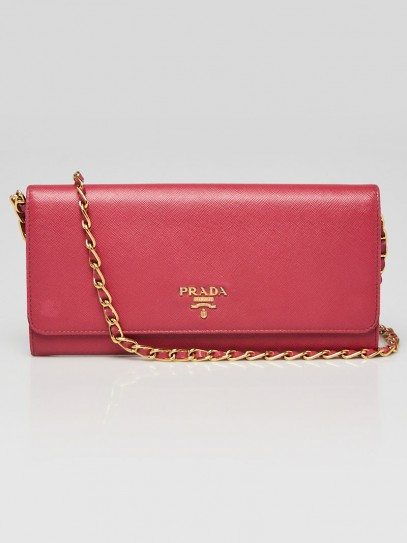 Prada Pink Saffiano Metal Leather Wallet on Chain Clutch Bag 1M1290