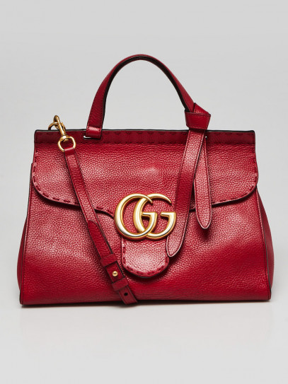 Gucci Red Pebbled Leather Marmont Top Handle Bag