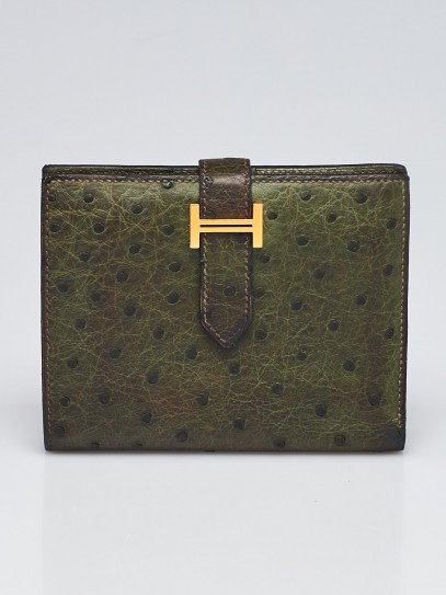Hermes Vert Olive Ostrich Gold Plated Bearn Compact Wallet