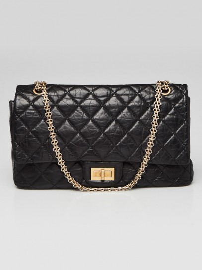 Chanel Black 2.55 Reissue Quilted Classic Calfskin Leather 227 Jumbo Flap Bag