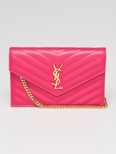 Yves Saint Laurent Pink Chevron Quilted Grained Leather Envelope Small Wallet on Chain Bag
