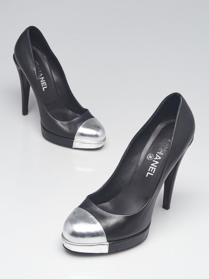 Chanel Black/Silver Leather Platform Cap Toe Pumps Size 9.5/40