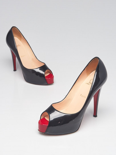 Christian Louboutin Black Patent Leather Very Prive 120 Peep Toe Pumps Size 8/38.5
