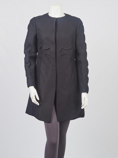 Valentino Black Wool and Silk Scalloped Long Coat Size 8/42