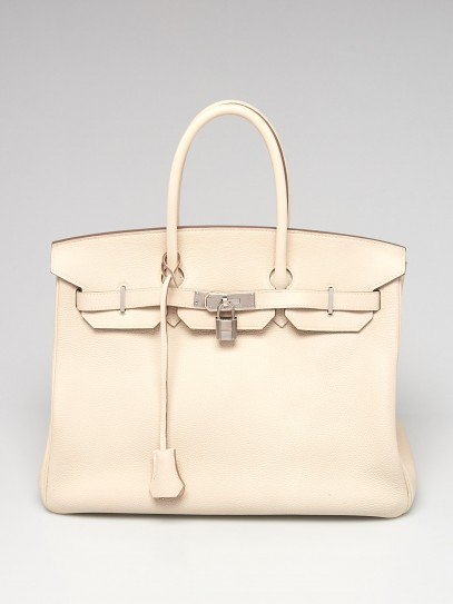 Hermes 35cm Beton Togo Leather Palladium Plated Birkin Bag
