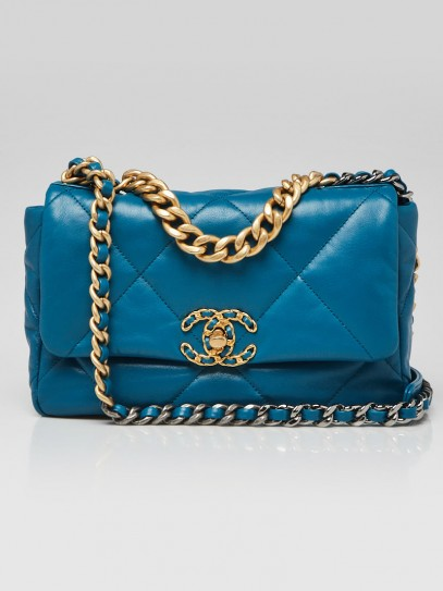 Chanel Turquoise Quilted Goatskin Leather Chanel 19 Small Flap Bag