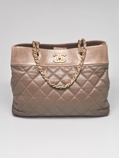Chanel Brown Quilted Leather Soft Elegance Large Tote Bag
