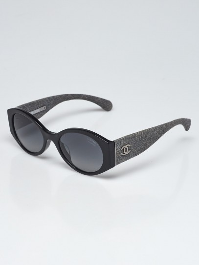 Chanel Black Acetate Frame and Grey Denim Oval Frame Sunglasses 5405