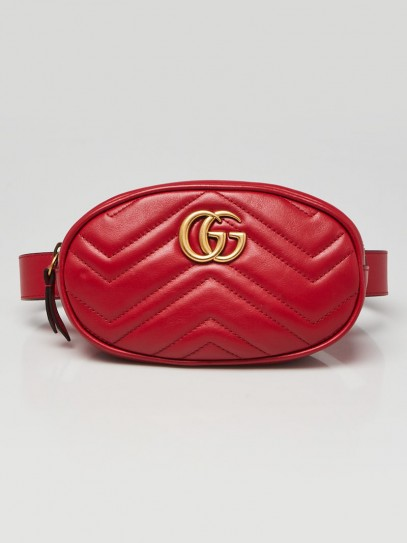 Gucci Red Quilted Leather GG Marmont Waist Belt Bag Size 85/34
