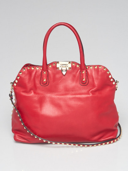 Valentino Red Leather Rockstud Dome Double Handle Bag