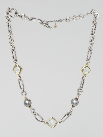 David Yurman Sterling Silver Figaro Chain and Mixed Stone Necklace