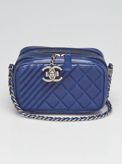 Chanel Blue Quilted Lambskin Leather Mini Coco Boy Camera Case Bag