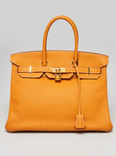 Hermes 35cm Jaune d'Or Clemence Leather Gold Plated Birkin Bag