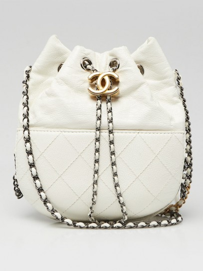 Chanel White Quilted Leather Small Gabrielle Bucket Bag