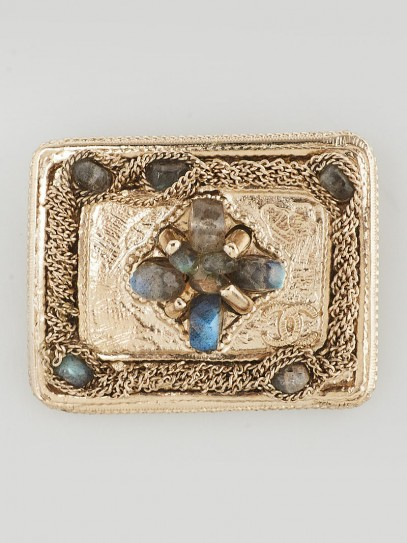 Chanel Goldtone Metal and Crystal Square Brooch
