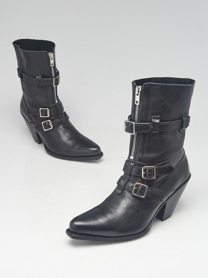 Celine Black Calfskin Leather Berlin Ankle Boot Size 5.5/36