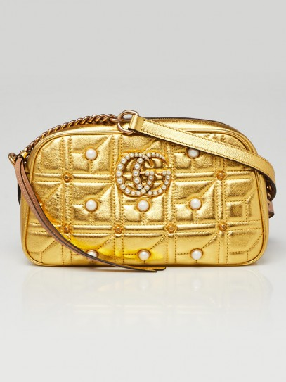 Gucci Gold Quilted Leather 2.0 Imitation Pearl Marmont Metalasse Small Shoulder Bag