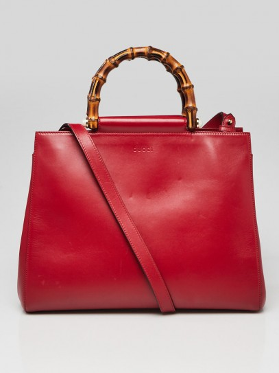 Gucci Red Smooth Calfskin Leather Nymphaea Medium Top Handle Bag