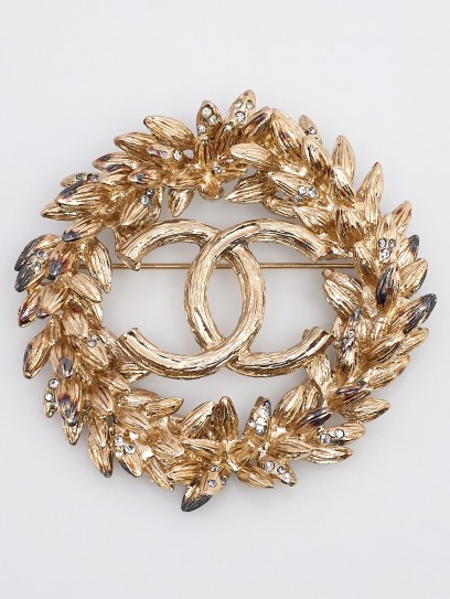 Chanel Goldtone Metal CC Crystal Wreath Brooch