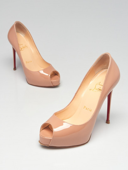 Christian Louboutin Beige Patent Leather New Very Prive 120 Peep-Toe Pumps Size 4.5/35