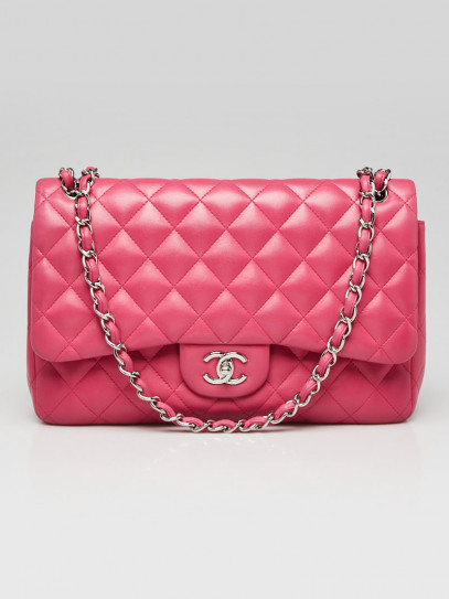 Chanel Pink Quilted Lambskin Leather Classic Jumbo Double Flap Bag