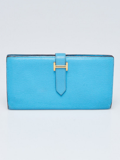 Hermes Turquoise Chevre Mysore Leather Gold Plated Bearn Wallet