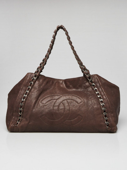 Chanel Brown Distressed Leather Modern Chain East/West Tote Bag
