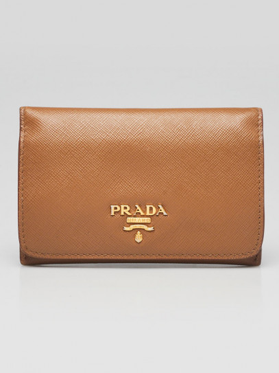 Prada Brown Saffiano Leather Card Holder Wallet