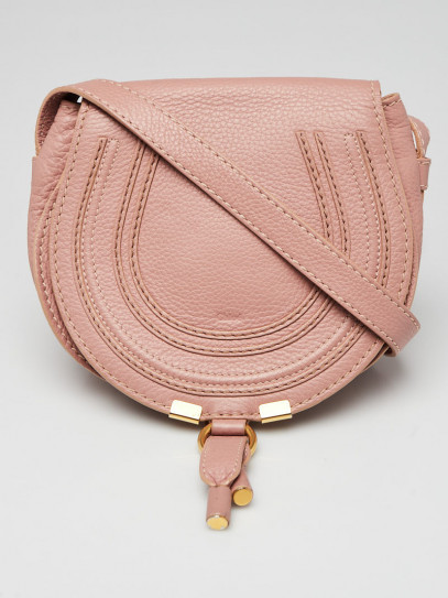 Chloe Pink Pebbled Leather Marcie Mini Crossbody Bag