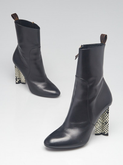 Louis Vuitton Black Leather and Snakeskin Silhouette Ankle Boots Size 9.5/40