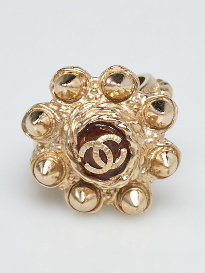 Chanel Goldtone Metal Studded CC Ring Size 6
