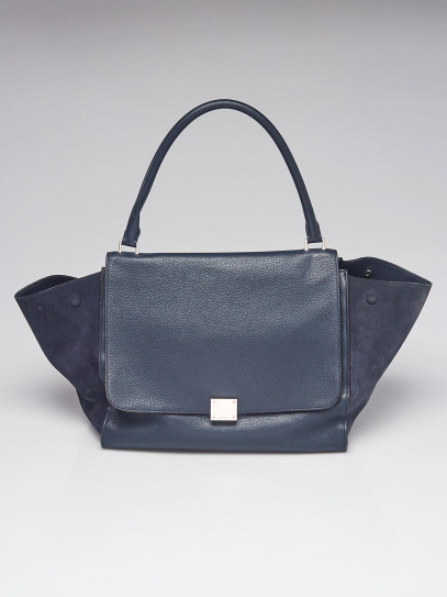 Celine Blue Pebbled Leather/Suede Large Trapeze Bag