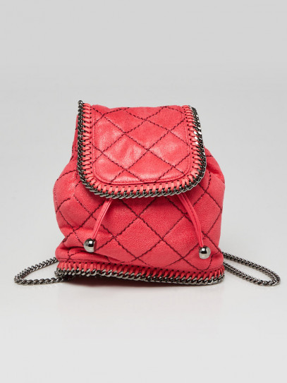 Stella McCartney Pink Quilted Faux Leather Falabella Mini Backpack