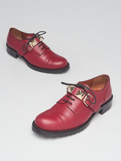 Valentino Dark Red Leather Rockstud Loafer Flats Size 8.5/39