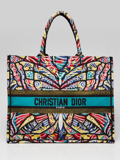 Christian Dior Multicolor Butterfly Embroidered Canvas Book Tote Bag