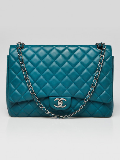 Chanel Turquoise Quilted Lambskin Leather Classic Maxi Double Flap Bag