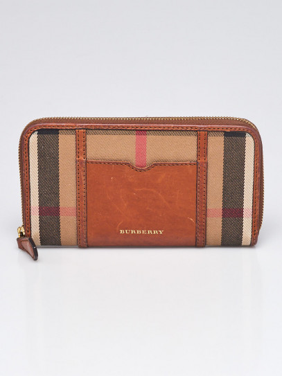 Burberry Brown Leather House Check Canvas Zippy Wallet