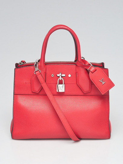 Louis Vuitton Red Leather City Steamer PM Bag
