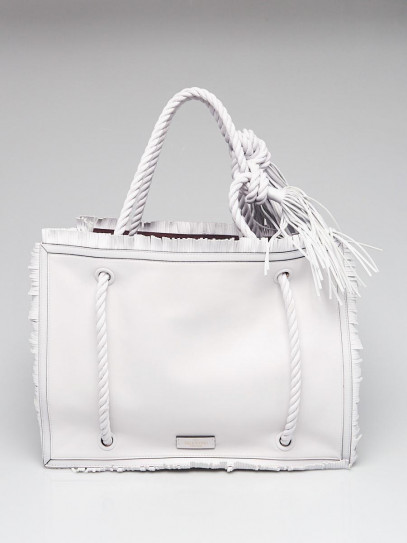 Valentino White Leather The Rope Large Tote Bag