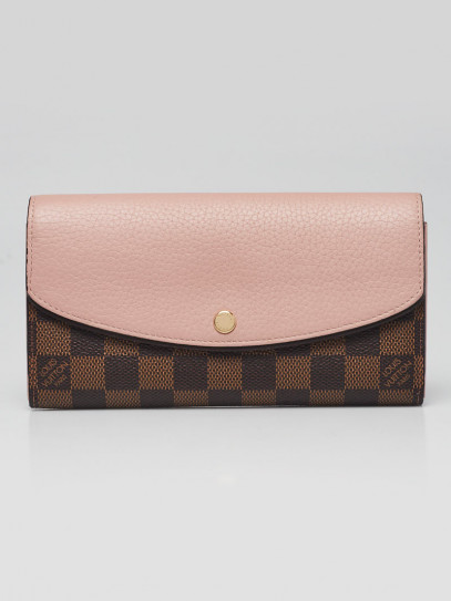Louis Vuitton Pink Leather Damier Canvas Normandy Wallet