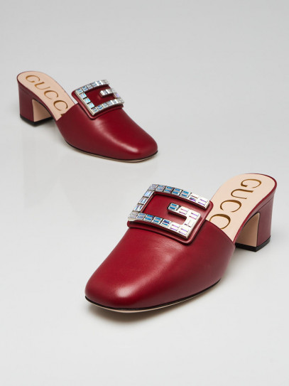 Gucci Red Leather Madelyn Mules Size 8/38.5