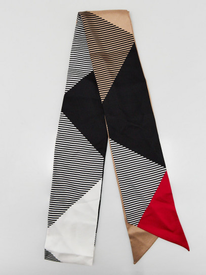 Burberry Multicolor Printed Silk Skinny Scarf