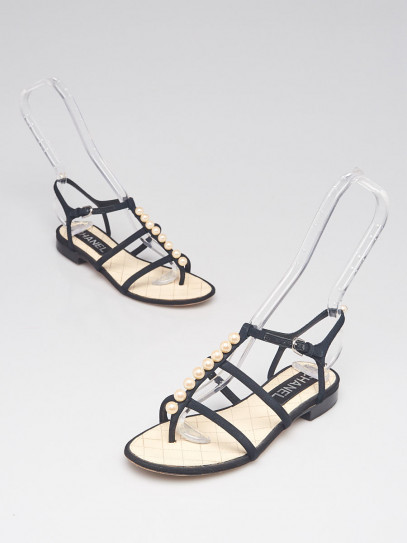 Chanel Black Grosgrain Pearl Strappy Flat Sandals Size 4.5/35