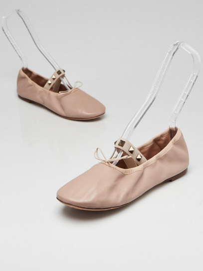 Valentino Poudre Smooth Leather Rockstud Elastic Ballet Flats Size 7/37.5