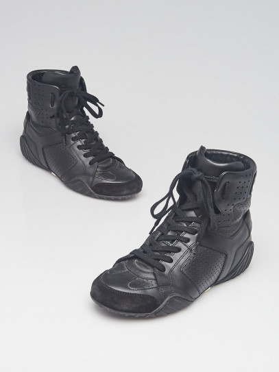 Christian Dior Black Leather/Suede High Top J'ADIOR Sneakers Size 3.5/34